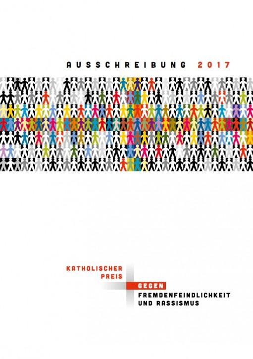 Flyer Ausschreibung Katholischer Preis gegen Fremdenfeindlichkeit und Rassismus 2017