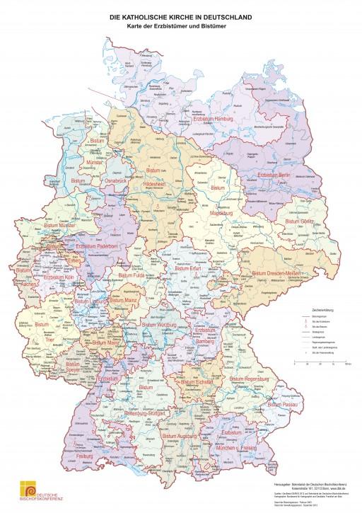 Bistumskarte DIN A2, gefalzt