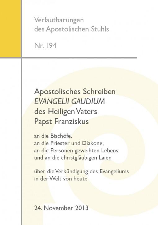 Apostolisches Schreiben EVANGELII GAUDIUM von Papst Franziskus