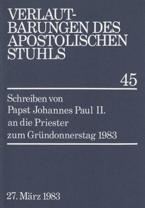 Papst Johannes Paul II.: Schreiben zum Gründonnerstag