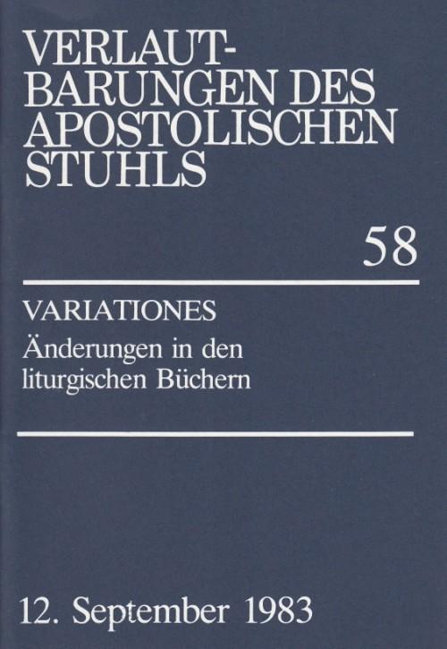 VARIATIONES - Änderungen in den liturgischen Büchern