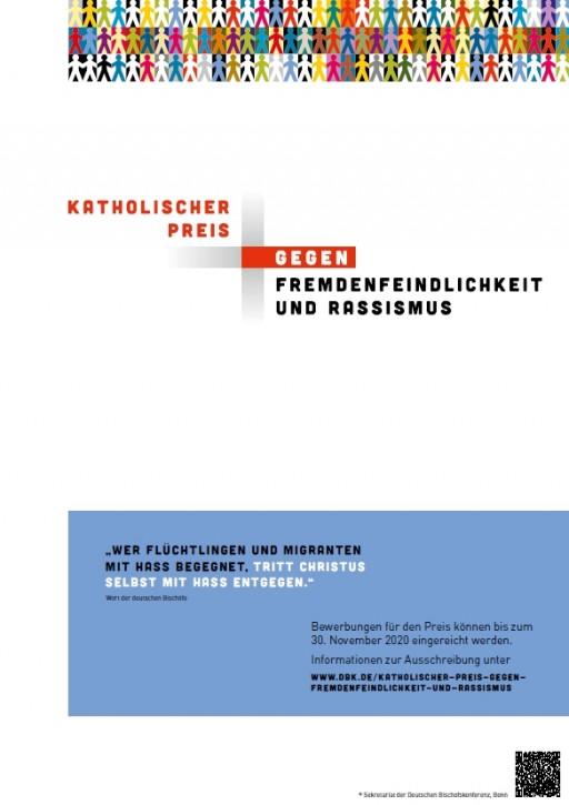 """Plakat zum """"Katholischen Preis gegen Fremdenfeindlichkeit und Rassismus"""""""