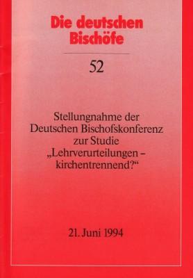 Stellungnahme der Deutschen Bischofskonferenz zur Studie Lehrverurteilungen - kirchentrennend?