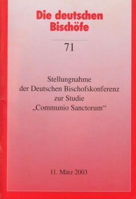 Stellungnahme zur Studie Communio Sanctorum
