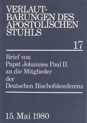 Papst Johannes Paul II.: Brief an die Mitglieder der Deutschen Bischofskonferenz