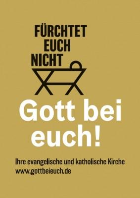 Plakat Gott bei euch! Weihnachten 2020 in der evangelischen und katholischen Kirche